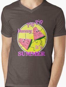 Cute Pink Water Melon Funny Novelty Summer Sun Graphic Design Mens V-Neck T-Shirt