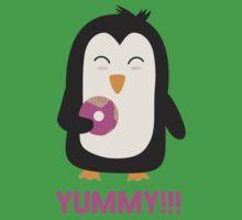 Penguin with a Doughnut   One Piece - Short Sleeve
