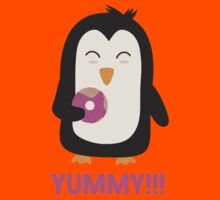 Penguin with a Doughnut   Kids Tee