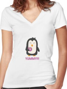 Penguin with a Doughnut   Women's Fitted V-Neck T-Shirt