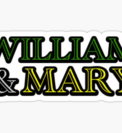 William & Mary (Green & Gold) Text  Sticker