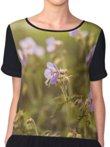 wild flowers in  light at sunset Chiffon Top