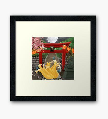 Ninetails under the Moonlight - Sakura Tree Version Framed Print