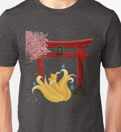 Ninetails under the Moonlight - Sakura Tree Version Unisex T-Shirt