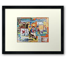 """Women Working"" Colorful Layered Mixed Media Collage Framed Print"
