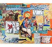 """""""Women Working"""" Colorful Layered Mixed Media Collage Photographic Print"""