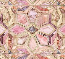 Geometric Gilded Stone Tiles in Blush Pink, Peach and Coral by micklyn
