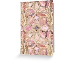 Geometric Gilded Stone Tiles in Blush Pink, Peach and Coral Greeting Card