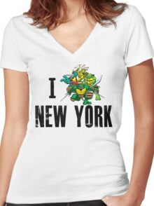 I Ninja Turtle New York - White Women's Fitted V-Neck T-Shirt