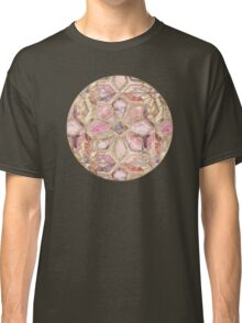 Geometric Gilded Stone Tiles in Blush Pink, Peach and Coral Classic T-Shirt