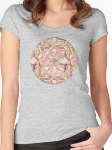 Geometric Gilded Stone Tiles in Peach Pink and Coral Women's Fitted Scoop T-Shirt