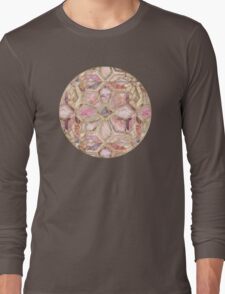Geometric Gilded Stone Tiles in Blush Pink, Peach and Coral Long Sleeve T-Shirt