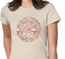 Geometric Gilded Stone Tiles in Blush Pink, Peach and Coral Womens Fitted T-Shirt