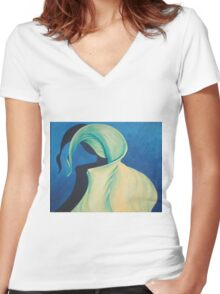 Yellow Lily Painting Women's Fitted V-Neck T-Shirt