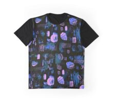 Crystal and Rock Pattern (black and purple) Graphic T-Shirt