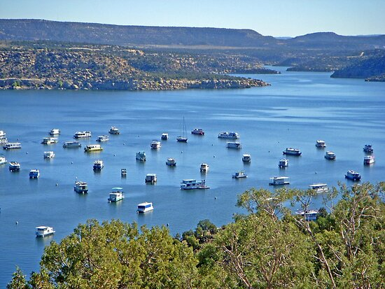 Houseboats on Navajo Lake, New Mexico, USA by Margaret  Hyde