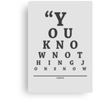 Ygritte, Eye Chart Canvas Print