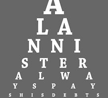 Tyrion Lannister, Eye Chart by Alex Boatman