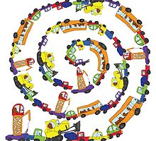 Child's hand draw cars.Funny Doodle spiral composition by Tatiakost
