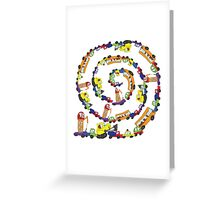 Child's hand draw cars.Funny Doodle spiral composition Greeting Card