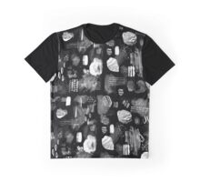 Crystal and Rock Pattern Black and White Graphic T-Shirt