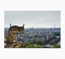 Gargoyle eyeing the Eiffel tower  Kids Tee