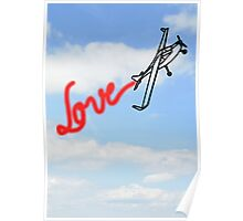 Love in Clouds with Airplane Poster