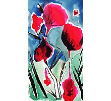 Red flowers ink and watercolor painting Photographic Print