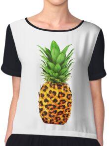 Cheetah Pineapple Chiffon Top