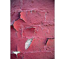 Chipped Red Paint Over a Brick Wall - Cases, Prints and More Photographic Print