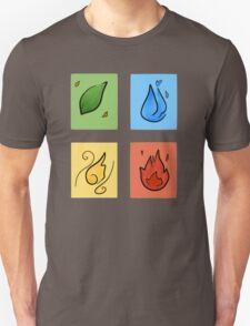Square Designs - Four elements, Earth, Water, Air and Fire Unisex T-Shirt