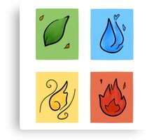 Square Designs - Four elements, Earth, Water, Air and Fire Canvas Print