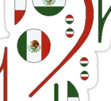 Mexico Flag Musical Notes Sticker