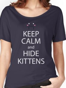 Keep Calm And Hide Kittens Anime Manga Shirt Women's Relaxed Fit T-Shirt