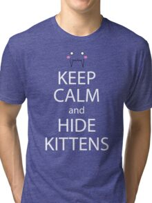 Keep Calm And Hide Kittens Anime Manga Shirt Tri-blend T-Shirt