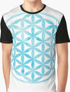 Watercolor light blue Flower of Life Graphic T-Shirt