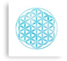 Watercolor light blue Flower of Life Canvas Print