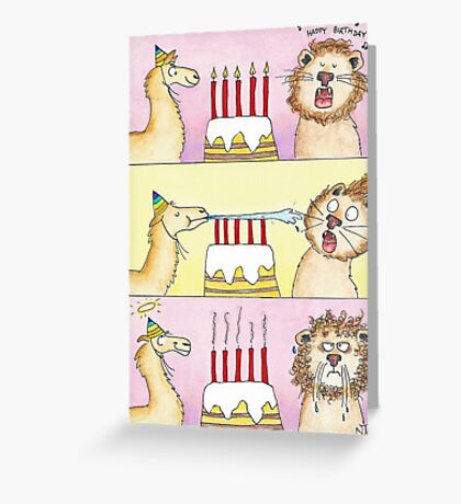 Llama vs Lion - Anniversaire Greeting Card