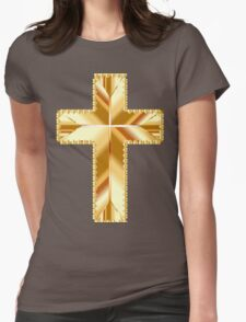 Gold,shiny,cross,on black background,christian,catholic,spiritual,Jesus,love,faith,compassion,forgiveness Womens Fitted T-Shirt