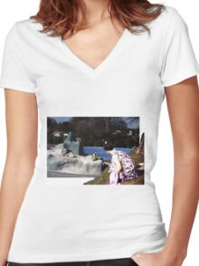 outside looking in Women's Fitted V-Neck T-Shirt