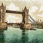 A digital painting of  Tower Bridge, London, England by Dennis Melling