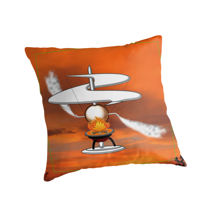 The First Helicopter ? - pillow & tote design by Dennis Melling