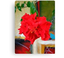 Red Hibiscus Bloom  Canvas Print