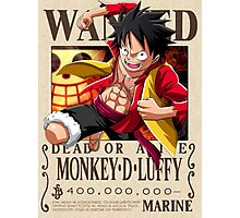 Monkey D. Luffy wanted. 400 mil New world Photographic Print