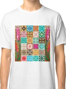 Colorful mosaic with abstract geometrical flowers and tulips. Classic T-Shirt