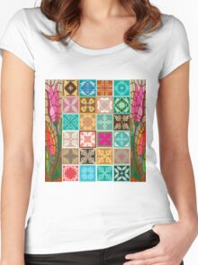 Colorful mosaic with abstract geometrical flowers and tulips. Women's Fitted Scoop T-Shirt