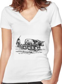 Bones and Skin Women's Fitted V-Neck T-Shirt
