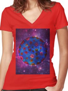 Planet Flora Women's Fitted V-Neck T-Shirt