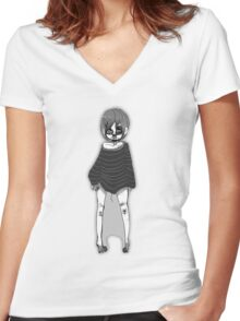 Greyscale cutie Women's Fitted V-Neck T-Shirt