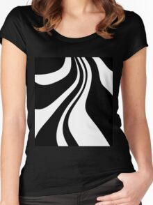 Black and white abstraction Women's Fitted Scoop T-Shirt